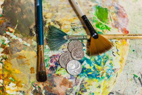 canvas print picture Kunst und Geld