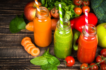 Fruit and Vegetable smoothie drink.
