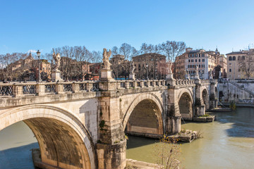 Weekend in Rome. The bridge over the Tiber