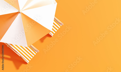 Top view beach umbrella with beach chairs on orange background. summer vacation concept. 3d rendering © aanbetta