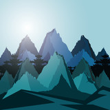 Fototapeta Fototapety z naturą - landscape mountainous scene icon © djvstock