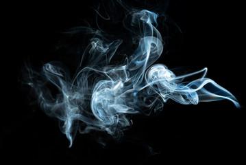 white smoke on the black background.