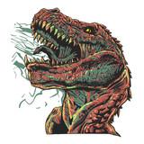Fototapeta Dinusie - Aggressive tyrannosaur - jurassic monster - Vector illustration © oldstores