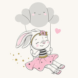 Hand drawn vector illustration of a cute bunny girl in a pink dress, swinging on a cloud.