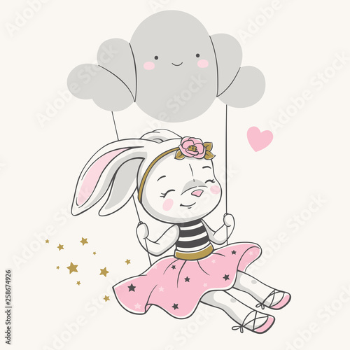 fototapeta na ścianę Hand drawn vector illustration of a cute bunny girl in a pink dress, swinging on a cloud.
