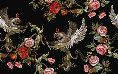 Embroidery griffins and red roses, pink peonies seamless pattern. Medieval art. Gothic template tapestry renaissance style. Template for clothes, t-shirt design © Matrioshka