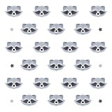 Vector pattern with raccoons. Design element for social networks, children's clothing, exercise books, room decoration and other uses.