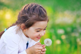 Beautiful little Girl blowing dandelion flower and smiling in summer park. Happy cute kid having fun outdoors.
