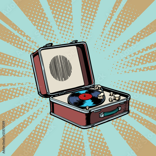 retro vinyl record player pop art background © rogistok