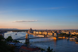 City Of Budapest And Danube River At Sunset