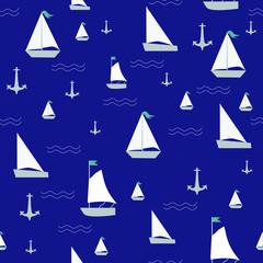 Seamless pattern with sailing ships on waves, sea theme print fabrics © golubka57