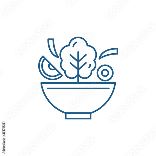Bowl of salad line concept icon. Bowl of salad flat  vector website sign, outline symbol, illustration. - 258719351