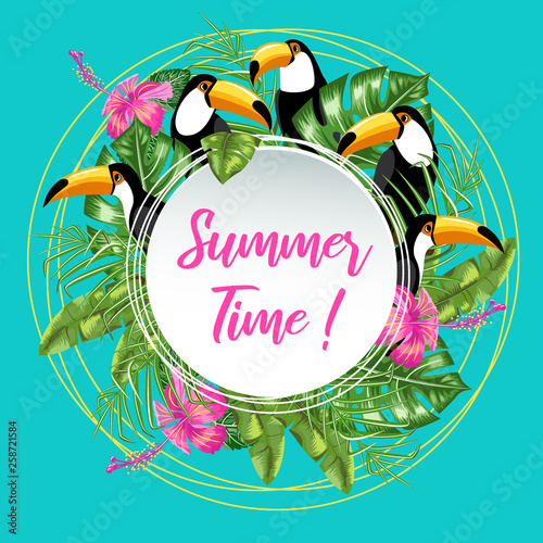 Invitation template for summer ad. Toucan bird and tropical leaves.Poster. © oksanacofee