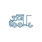 Childrens locomotive line concept icon. Childrens locomotive flat  vector website sign, outline symbol, illustration.