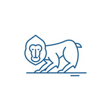 Chimpanzee line concept icon. Chimpanzee flat  vector website sign, outline symbol, illustration.