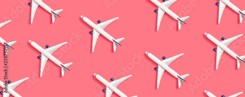 Toy miniature airplanes overhead view flat lay