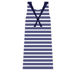 Striped dress flat illustration on white