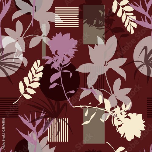 Seamless pattern with leaves and flowers ,geometric stripes circle vector Stylish Silhouette Abstract  in modern style.Design for fashion,fabric,wallpaper,web and all prints - 258765102