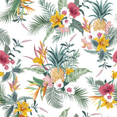 Vector seamless pattern tropical colorful exotic forest