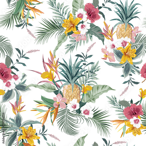 Vector seamless pattern tropical colorful exotic  forest © MSNTY