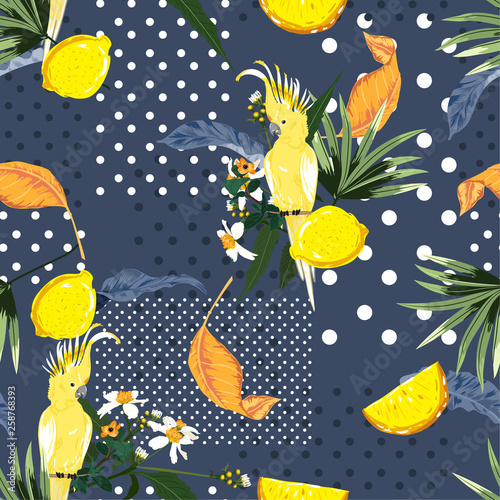 Seamless pattern Trendy Summer exotic tropical and lemon fruits with macaw bird on polka dots design for fashion ,fabric,web, wallpaper and all prints - 258768393