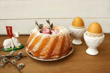 Wielkanocna babka, bazie, pisanki, baranek
