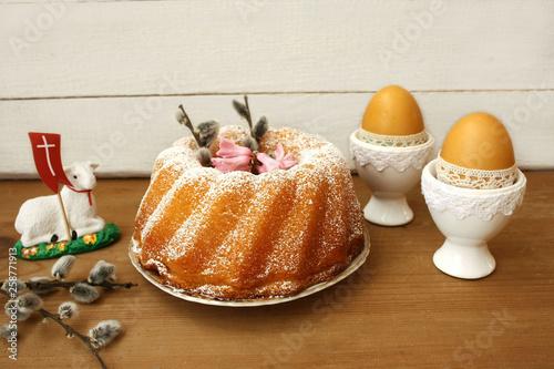 Wielkanocna babka, bazie, pisanki, baranek - 258771913