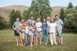 Happy big family outdoors