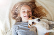 Leinwanddruck Bild - Happy child with dog
