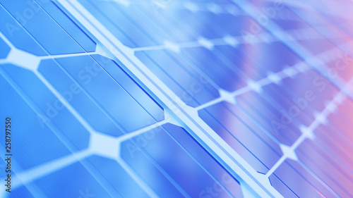 3D illustration solar power generation technology. Alternative energy. Solar battery panel modules with scenic sunset with blue sky with sun light © rost9