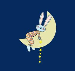 coniglietto sulla luna su sfondo blu
