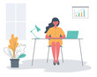 Office worker in the workplace. Young woman is sitting at the desk in the office room. There is a laptop, a lamp, a diagram and a flower in the picture. Funky flat style. Vector