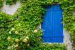 Leinwanddruck Bild - Blaues Fenster mit gelber Rose