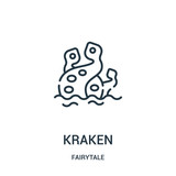 kraken icon vector from fairytale collection. Thin line kraken outline icon vector illustration.
