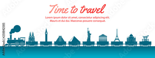 world landmark carried by train,concept art  silhouette style,vector illustration,green blue gradient - 258842585