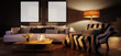 Cute living room interior with mockup frames by evening (panoramic) - 3d illustration