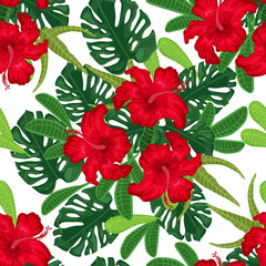 Seamless pattern with red hibiscus and palm leaves on white background © Ella