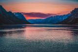 kangerlussuaq fjord at midnight sun