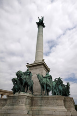 Equestrian monument in Heroes square of Budapest © graphic@jet