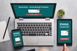 Leinwandbild Motiv Email marketing concept on laptop, tablet and smartphone screen