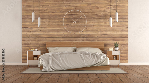 Minimalist master bedroom with wooden double bed - 258883500