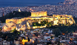 Acropolis at night in Athens from hill Lycabettus, Greece