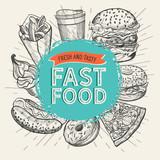 Ilustracje fast food, burger, pizza, pączek dla restauracji.