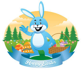 easter bunny with basket full of eggs