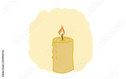 yellow wax candle, drawing © Vitaha