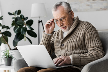 senior man in glasses looking at laptop at home © LIGHTFIELD STUDIOS