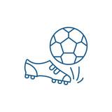 Fototapeta Fototapety sport - Football line concept icon. Football flat  vector website sign, outline symbol, illustration. © iconsgraph