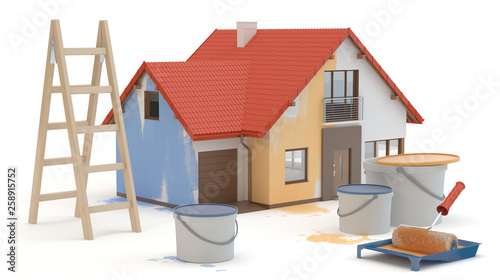 House renovation, 3D illustration