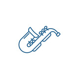 Jazz saxophone line concept icon. Jazz saxophone flat  vector website sign, outline symbol, illustration.