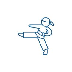 Karate line concept icon. Karate flat vector website sign, outline symbol, illustration.